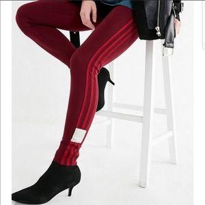 Maroon adidas original adibreak 3 stripe legging